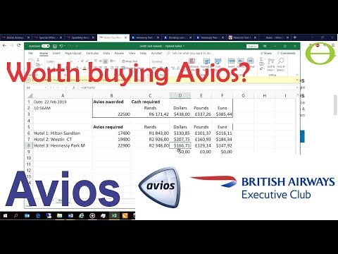 Is It Worth Buying British Airways Avios? Comparison Of Value Shown When Booking Hotels.