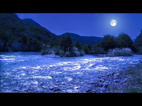 Relaxing Music to Sleep With from Manso RIver at Night with the Full Moon
