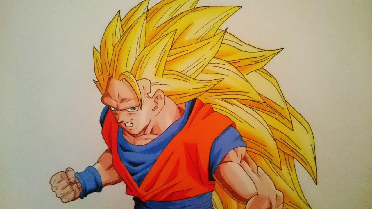 Drawing Goku Super Saiyan 3 Ssj3 Youtube