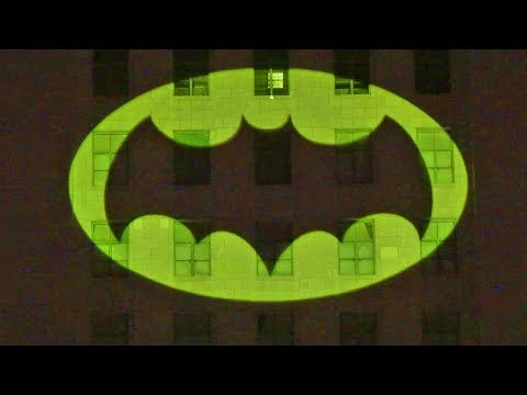 Batman Bat Signal lit in honor of Adam West at Los Angeles City Hall