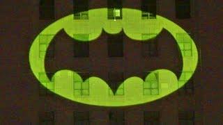 Batman Bat Signal lit in honor of Adam West at Los Angeles City Hall