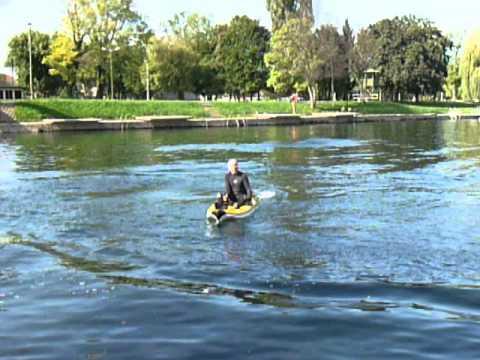 Aquanami Jetkayak GT power kayak ride on river Korana in Karlovac, city with four rivers