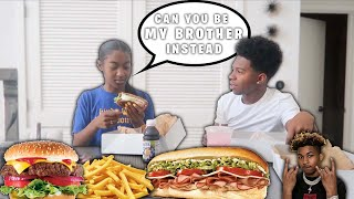 DDG SISTER WANTS ME TO BE HER BROTHER INSTEAD OF HIM *Mukbang*