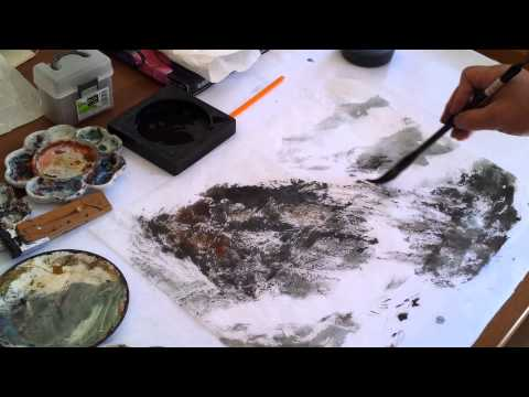 How to Create Textures on Mulberry Paper in Landscape Painting with Plexiglass