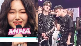 mark reaction during mina's last day speech in music core 200530