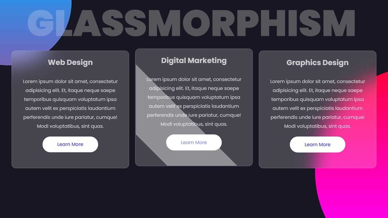 Card Design with CSS Glassmorphism Effect | Glass Morphism UI