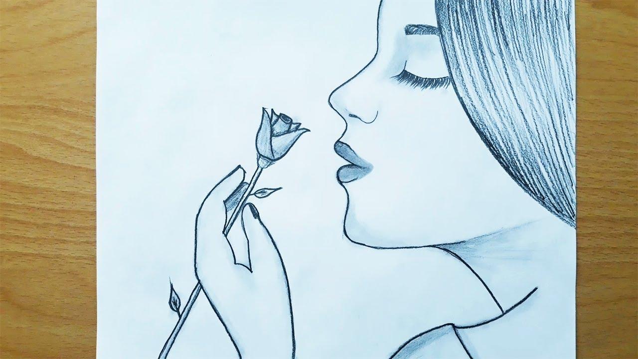Gül Koklayan Güzel Kız Çizimi / ADIM ADIM Beraber Çizelim