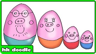 How To Draw Peppa Pig Surprise Eggs | Learn Sizes with Peppa Pig Family by HooplaKidz Doodle