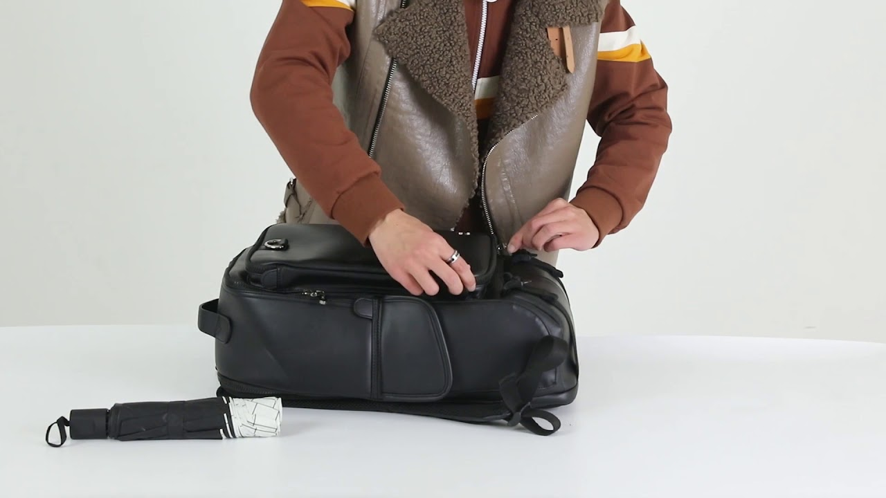 韓國品牌EXIT-休閒時尚USB外充前後雙層筆電皮革後背包【TA-X033】 - YouTube