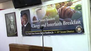 Senator James Sanders delivers remarks at Community Clergy Breakfast 3/18/16