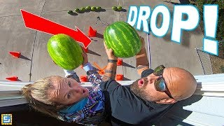 LAST TO DROP THE GIANT WATERMELON CHALLENGE!! Don't Drop the Watermelon!