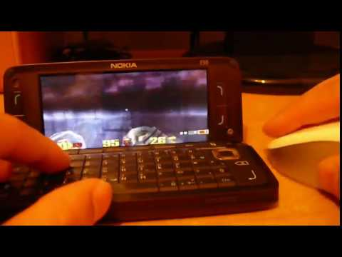 Quake 3 Arena on Nokia E90 + Bluetooth Mouse Logitech V470