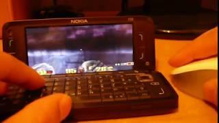 Quake 3 Arena on Nokia E90 + Bluetooth Mouse Logitech V470