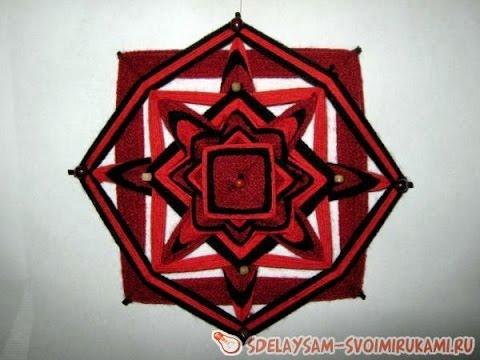 Плетеная мандала ojo de dios. Индейский оберег.