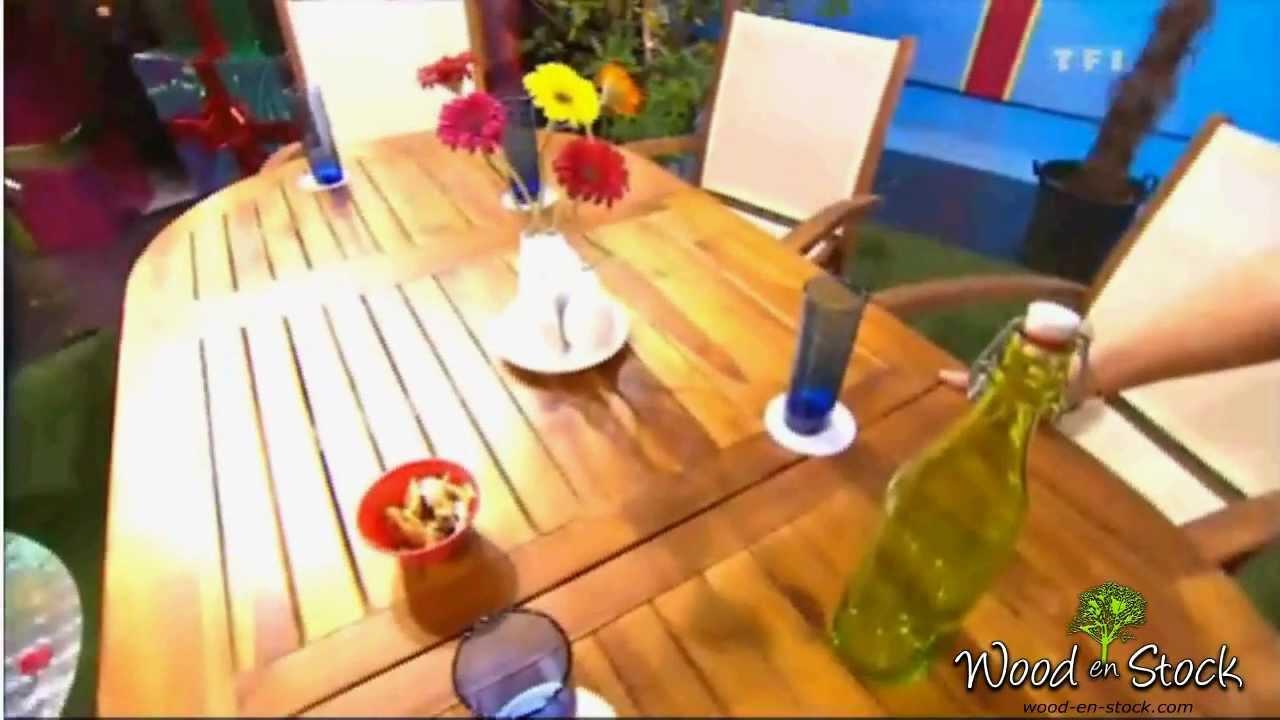 salon de jardin en teck et en batyline - YouTube