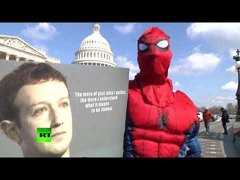 Critics of Facebook demonstrate on Capitol Hill in Washington DC