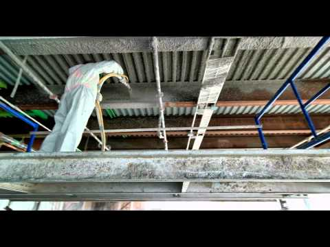 Amazing close up video of  fire proofing  fire cement onto steel deck