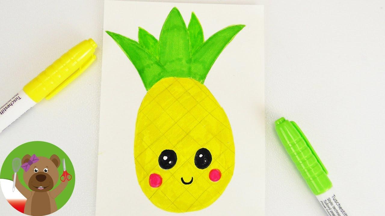 Ananas Rysunek malowanie i rysowanie dla dzieci | obrazek kawaii | uroczy ananas | martwa  natura krok po kroku