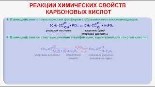 № 94. Органическая химия. Тема 18. Карбоновые кислоты. Часть 6. Реакции химических свойств