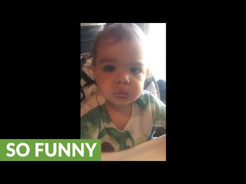 Baby argues that cold yogurt is hot