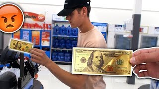 USING FAKE GOLD MONEY AT WALMART PRANK (ILLEGAL)