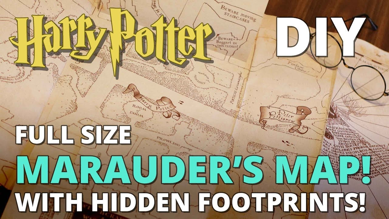 photo regarding Harry Potter Marauders Map Printable named Do it yourself Marauders Map with Concealed FOOTPRINTS! Total Dimension Duplicate - MUGGLE MAGIC