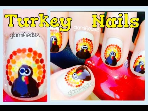 Turkey Nails - Thanksgiving nail design