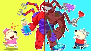 Wolfoo Makes a Magic Robot to Protect His Sister | Cartoon for kids
