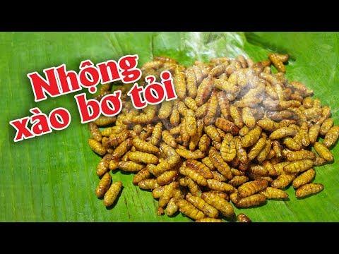 Cơm Việt #02: Nhộng xào bơ tỏi thơm ngon béo bùi bùi – Cook and Eat Silkworm Pupae