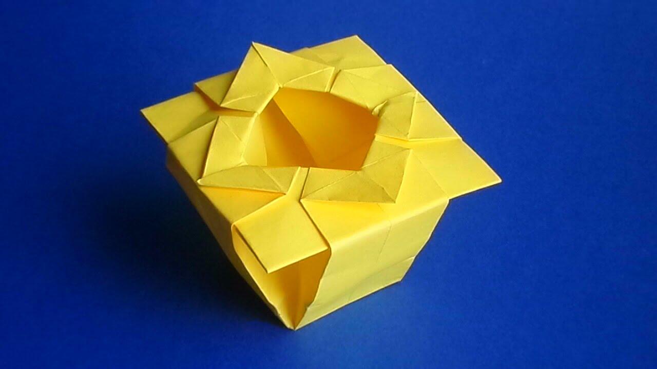 Как сделать вазу из бумаги Листочек