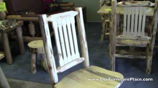 Rustic Dining Chair | Skip Peeled Lodgepole Pine Log Dining Chair From Jhe's