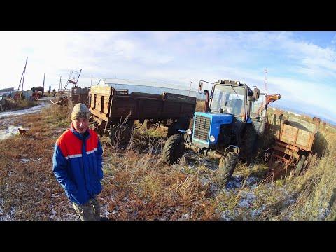 201-Д.(2С.).Готовим трактора и телеги к завозу удобрений.Пуск МТЗ-82 с буксира.