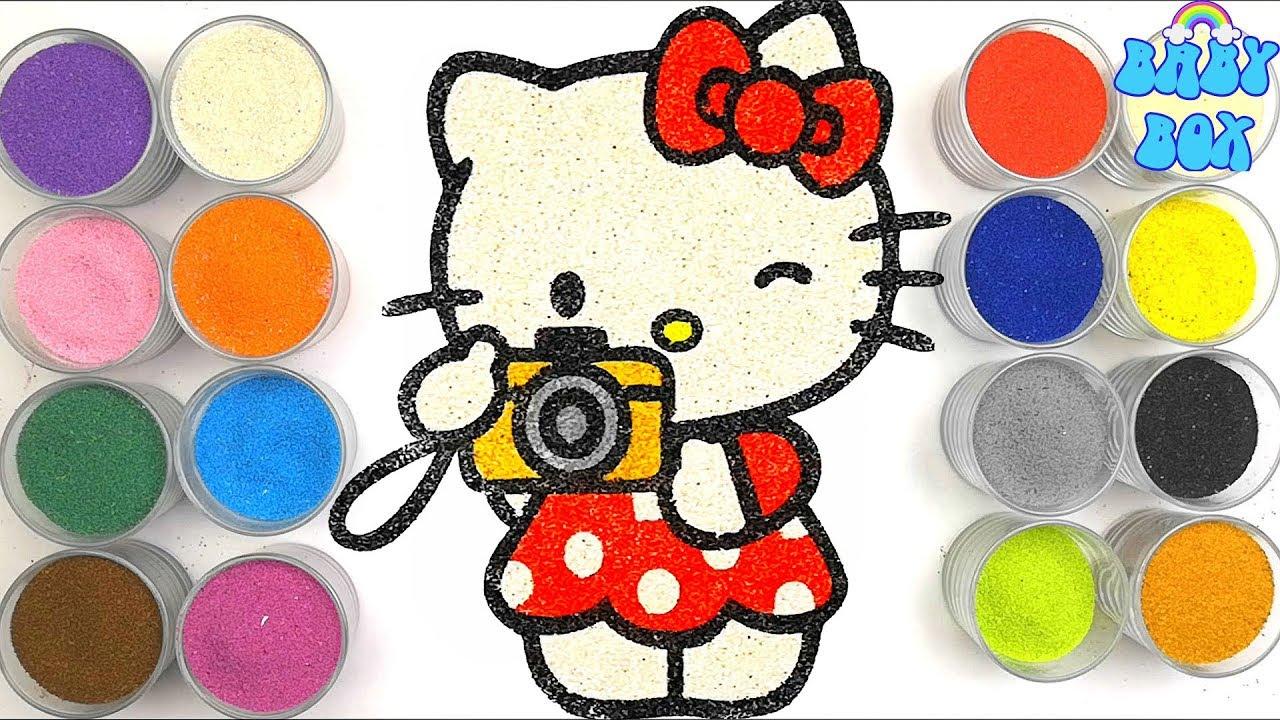 Раскраска для детей Hello Kitty. Рисование песком. - YouTube