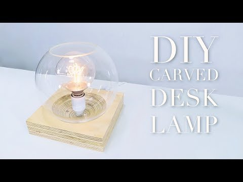 "DIY Desk Lamp With Contoured Base | ""Plywood Globe Lamp"" 