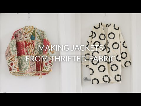 SEWING VLOG | Making jackets from a thrifted quilt and curtains
