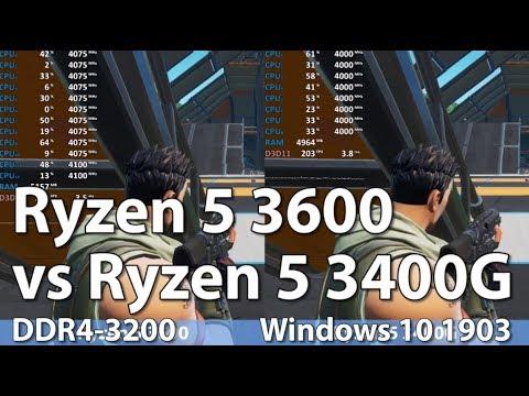 AMD Ryzen 5 3600 vs Ryzen 5 3400G in 7 Games - Gaming Benchmark Comparison   Fortnite, CS:GO, Dota 2