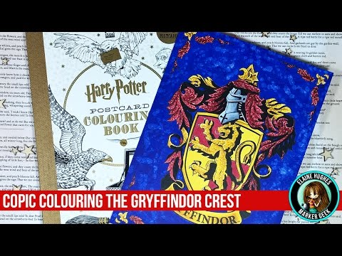 copic-colouring-the-gryffindor-crest---harry-potter-coloring-book