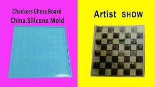 DIY Crystal Epoxy Chess International Checkers Board Chess Piece Silicone Mold