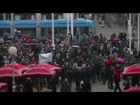 Protest In Zagreb Against Visit Of Serbian President Vucic