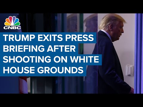 President Trump exits press briefing after shooting on White House grounds