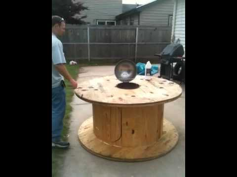 Cable reel grill station - YouTube