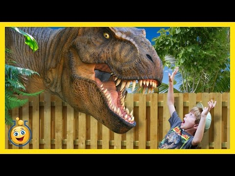 Thumbnail: Jurassic Adventure GIANT T-Rex Dinosaur Chases Park Ranger LB Real Life Family Fun Kids Video & Toys