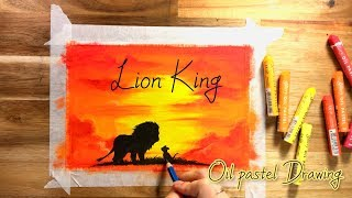 The Lion King , Creative Movie poster with Oil pastel, Simba and Mufasa