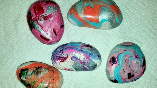 DIY  marble rocks using nail polish