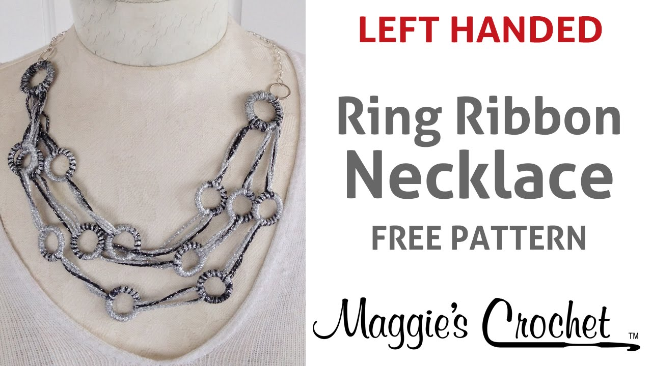 Left Handed Knitting Patterns : Spangle Ring Ribbon Necklace Free Pattern (No Knit, No Crochet) - Left Handed...