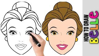 disney princess belle drawings easy draw beginners step