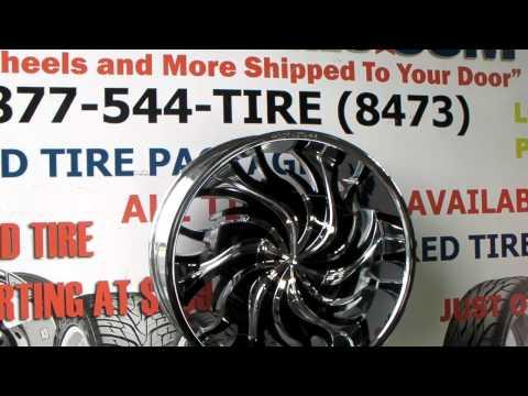 www.DUBSandTIRES.com Rock'n'Starr 565 Bush  22 Inch Chrome w/ Black Inserts Rockstarr Rims
