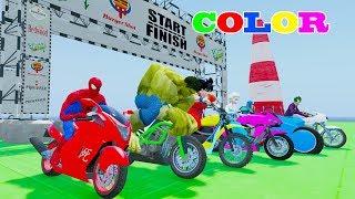 Learn Colors Motorbike & Super Race Cars w Superheroes Songs Nursery Rhymes For Children