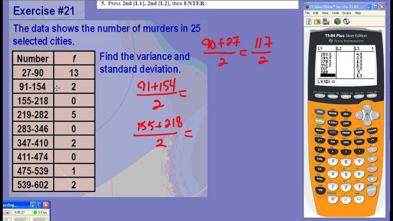 Finding the standard deviation of grouped data using ti 84 youtube ccuart Gallery