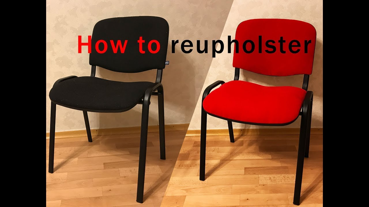 How to reupholster a chair seat diy tutorial - YouTube